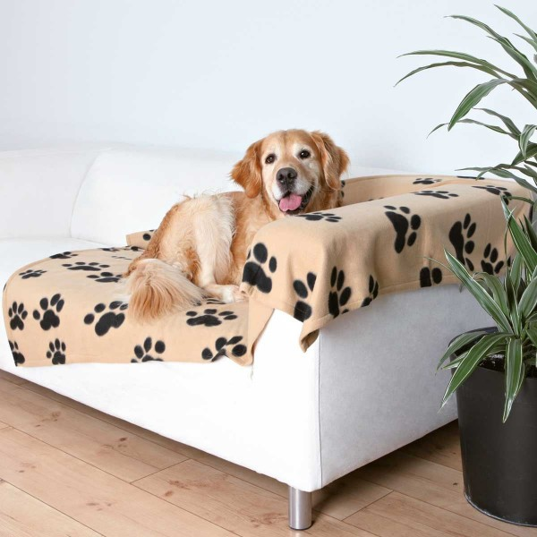 Fleecedecke für Hunde 150 x 100 cm beige-schwarz