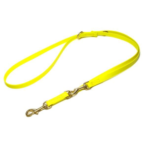 Mystique Biothane Leine verstellbar mit Messingkarabiner neon gelb
