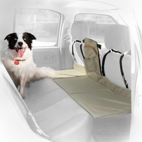 Kurgo Auto Fußraumabdeckung für Rücksitze schwarz/sand