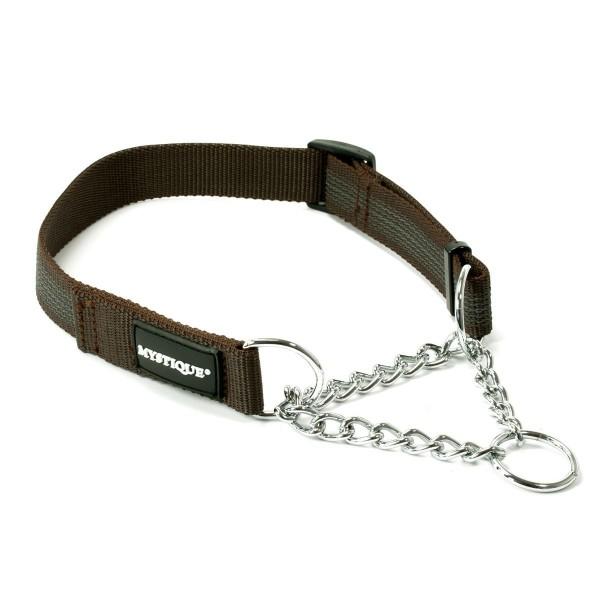 Mystique gummiertes Halsband mit Durchzugkette 25mm braun