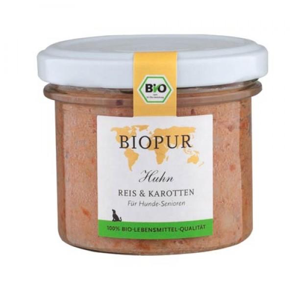 BioPur Huhn, Reis & Karotten für Hundesenioren, 100g