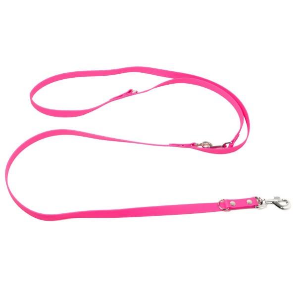 Mystique Biothane Leine verstellbar neon pink