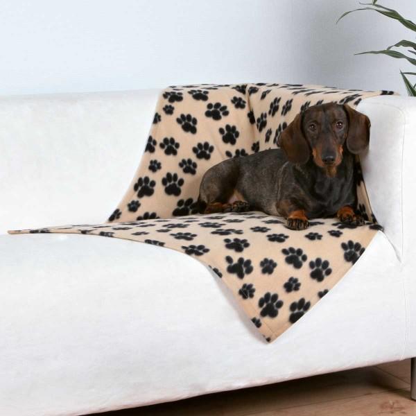 Fleecedecke für Hunde 100 x 70 cm beige-schwarz