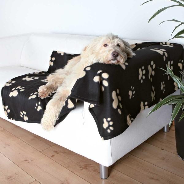 Fleecedecke für Hunde 150 x 100 cm schwarz-beige