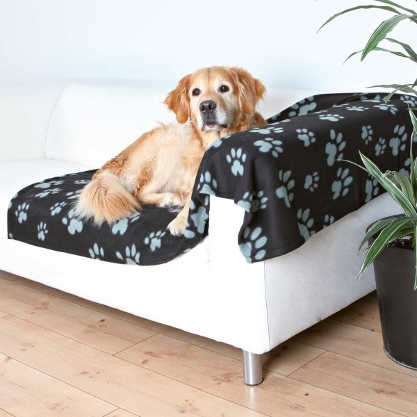 Fleecedecke für Hunde 150 x 100 cm schwarz-grau