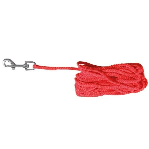 Schleppleine Nylon rund mit Schlaufe und Karabiner rot